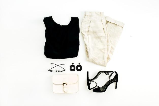 Flache lage, draufsicht modecollage mit weiblicher kleidung und accessoires