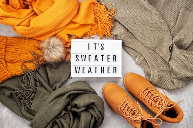 Flache lage mit bequemem warmem outfit