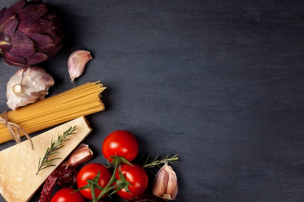 Flache lage mit frischen italienischen bio-produkten