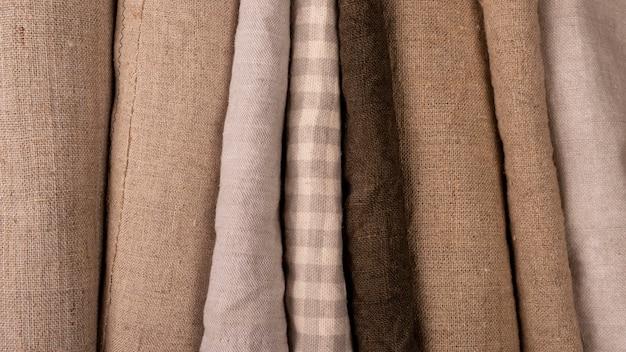Flache lage monochromatischer textilvielfalt
