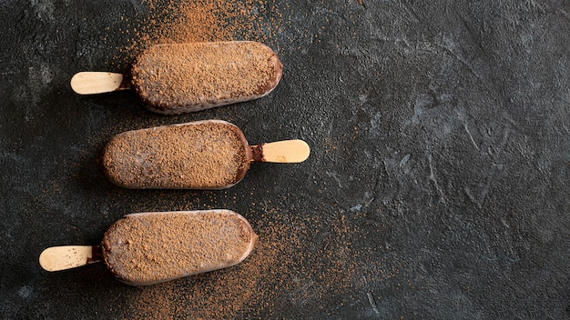 Flache lage schokoladeneis mit kakaopulver und kopierraum