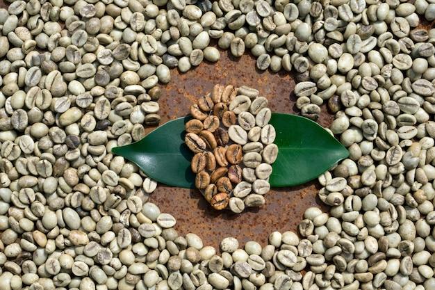 Flache lage von braunen und grünen kaffeebohnen, grünes blatt auf kaffeebohnen als hintergrund