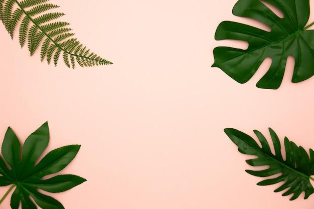 Flache lage von grünen tropischen blättern auf altem rosafarbenem hintergrund mit kopienraum.