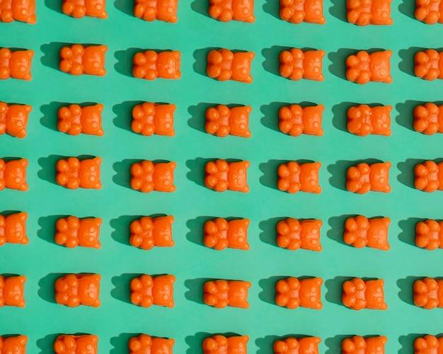 Flache lage von gummibärchen