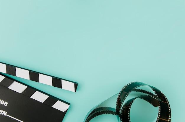 Flache lage von kinoelementen mit copyspace