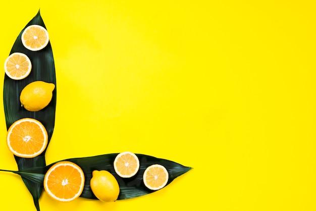 Flache lage von zitrusfrüchten auf blättern