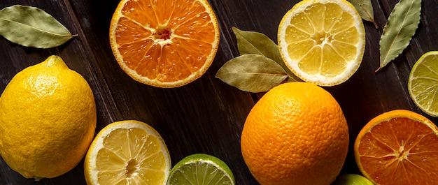 Flache lage von zitrusfrüchten
