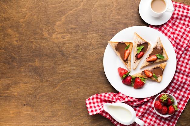 Flache lagefrühstückszusammensetzung mit copyspace