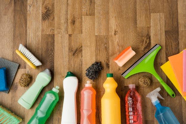 Flache lagezusammensetzung von reinigungsmitteln mit copyspace