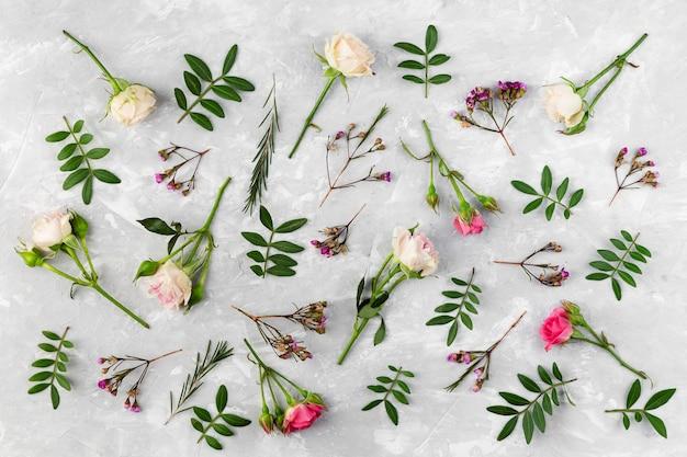Flache laienblumensammlung auf tisch