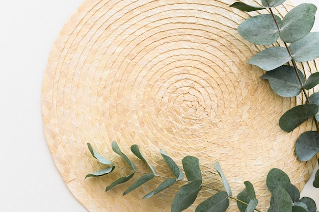 Flache laienrandansicht minimale zweige eukalyptusblätter über strohpalette auf weißem hintergrund. speicherplatz kopieren.