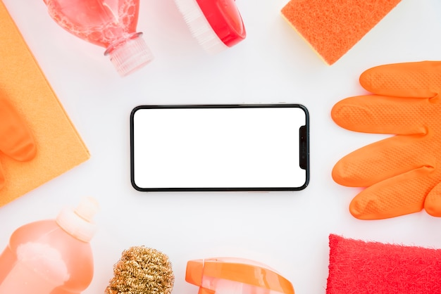 Flache laienreinigungszusammensetzung mit smartphoneschablone