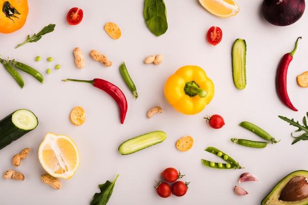 Flache laienzusammensetzung des gesunden gemüses