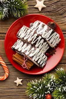 Flache laienzusammensetzung des köstlichen weihnachtsgerichts