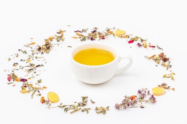 Flache lay-anordnung der tasse des grünen tees mit zusammenstellung von verschiedenen trockenen teeblättern und ingwer auf weißem hintergrund, kopierraum für text. bio-kräutertee, grüner asiatischer tee für die teezeremonie.