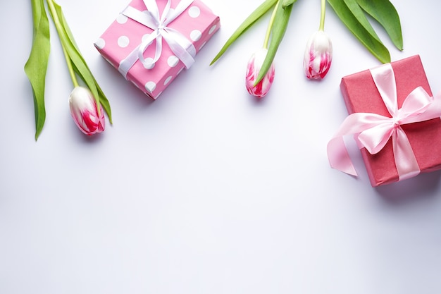 Flache legen tulpen und geschenkboxen auf weißem hintergrund