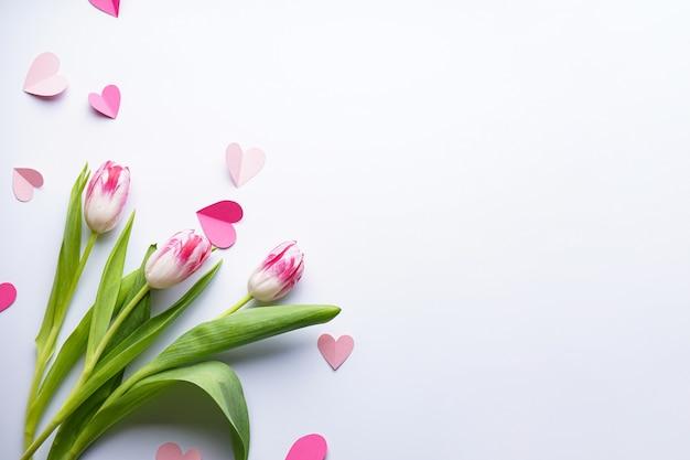 Flache legen tulpen und kleine herzen auf einem weißen hintergrund