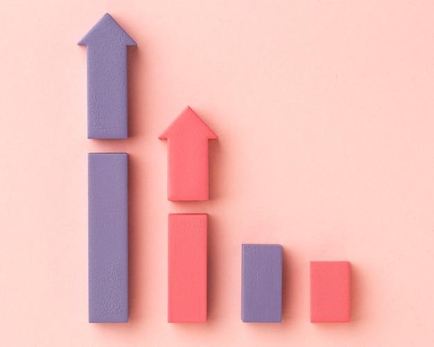 Flache statistikdarstellung mit diagramm und pfeilen