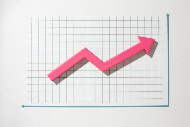 Flache statistikdarstellung mit pfeil
