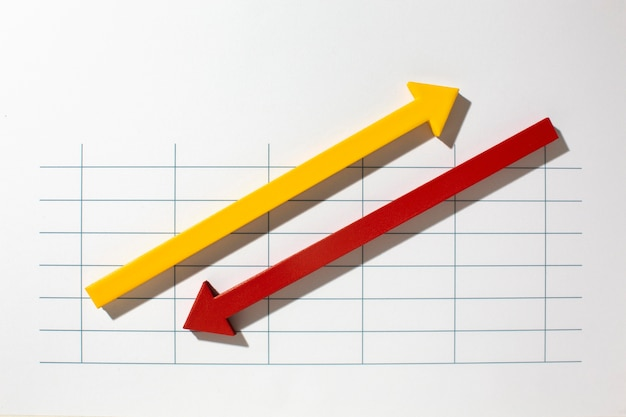 Flache statistikdarstellung mit pfeilen
