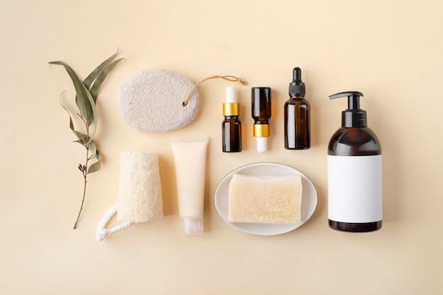 Flache zusammensetzung der natürlichen selbstpflegeprodukte