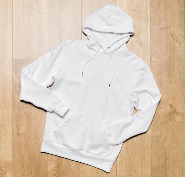 Flacher lässiger weißer hoodie