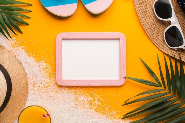 Flacher lagebilderrahmen mit strandkonzept
