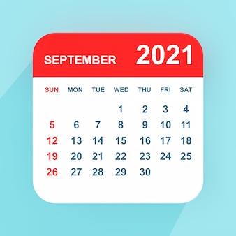 Flacher symbolkalender september 2021 auf blauem hintergrund. 3d-rendering