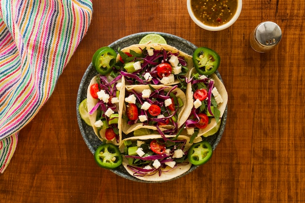 Flaches, leckeres tacos-arrangement
