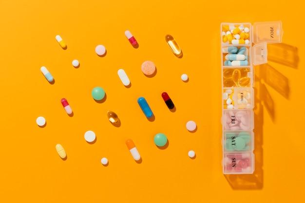 Flaches, minimales sortiment an medizinischen pillen