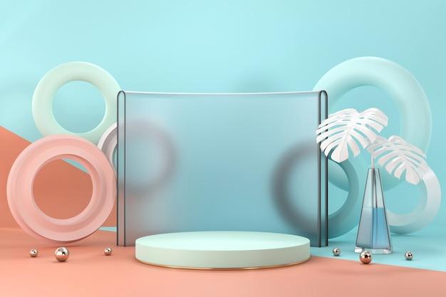 Flaches podium für produktanzeige-schaufenster mit monstera-topf und dekorations-3d-rendering