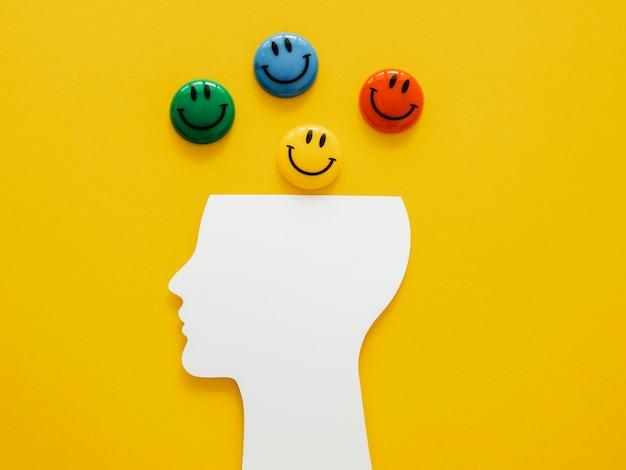Flaches sortiment an optimismus-konzeptelementen