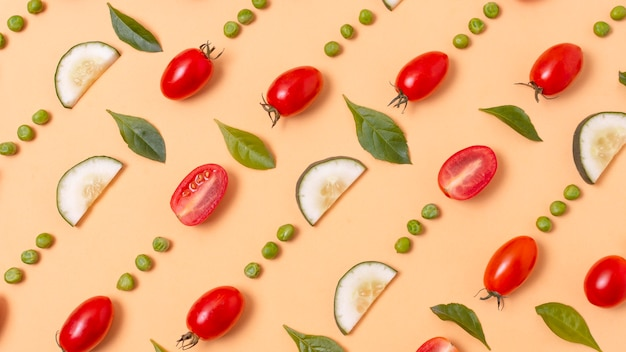 Flaches sortiment köstlicher reifer produkte