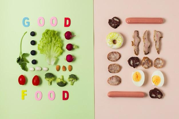 Flachlagevergleich zwischen gemüse und fleisch