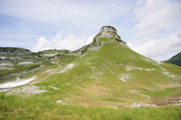 Flachwinkelaufnahme der schönen landschaft der österreichischen alpen