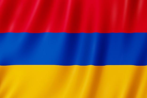 Flagge armeniens weht im wind.