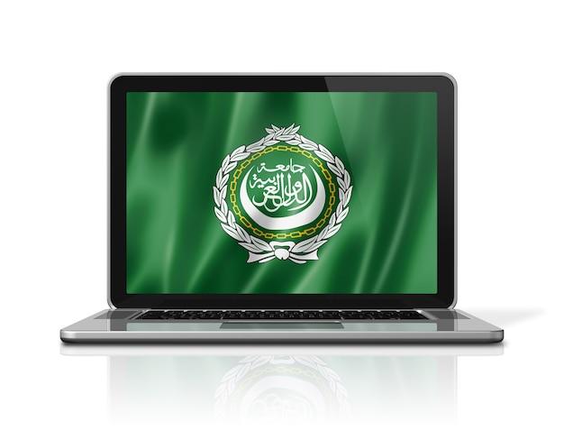 Flagge der arabischen liga auf dem laptop-bildschirm isoliert auf weiss. 3d-darstellung rendern.