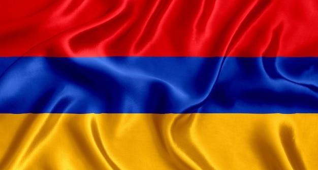 Flagge der armenischen seidennahaufnahme