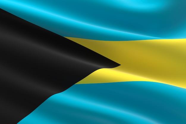 Flagge der bahamas. 3d-darstellung des bahamaischen fahnenschwingens.