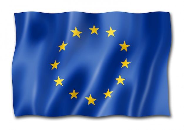 Flagge der europäischen gemeinschaft lokalisiert auf weiß