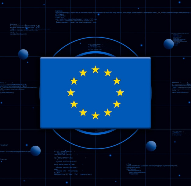 Flagge der europäischen union mit realistischen technologieelementen, 3d-rendering