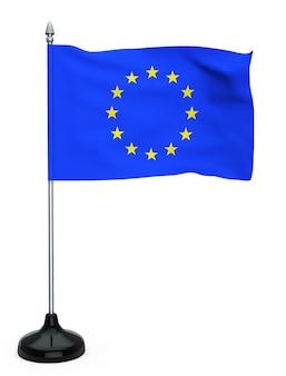 Flagge der europäischen union mit ständer auf weißem hintergrund