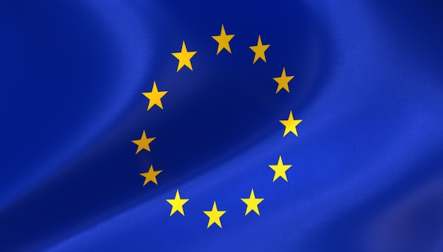 Flagge der europäischen union mit textur rendern