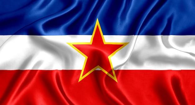 Flagge der jugoslawischen seidennahaufnahme