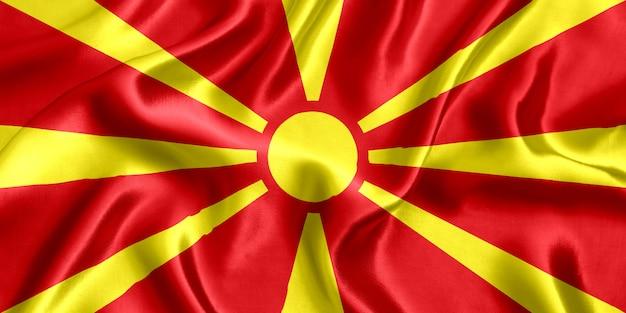 Flagge der mazedonischen seidennahaufnahme