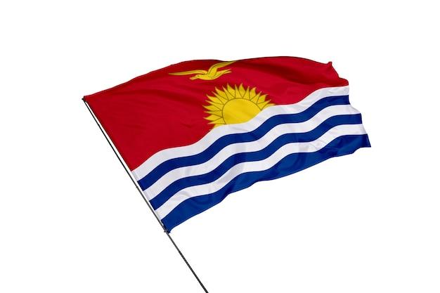 Flagge der nationalrepublik kiribati auf weißem hintergrund