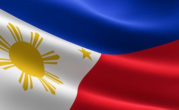 Flagge der philippinen. illustration der philippinischen flagge winken.