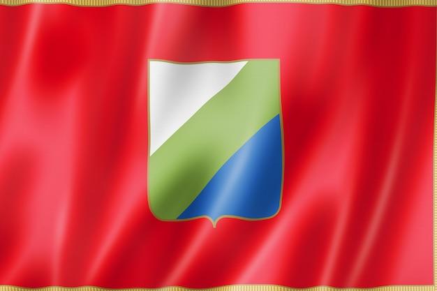 Flagge der region abruzzen, italien wehende bannersammlung. 3d-darstellung