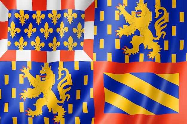 Flagge der region bourgogne-franche-comte, frankreich