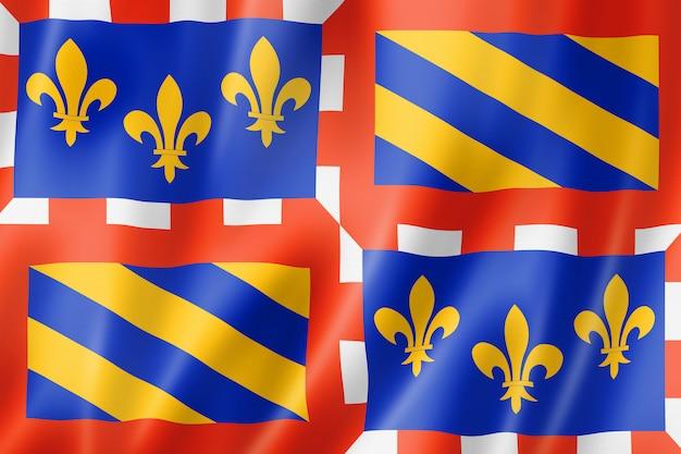 Flagge der region bourgogne, frankreich